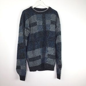 Vintage Mens Graphic Gray Blue Sweater